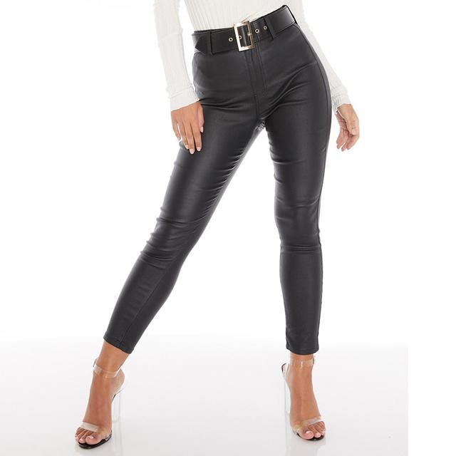 Black Belt High Wiast Pencil Pants Women Faux Leather PU
