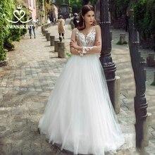 Düğün elbisesi sevgiliye aplikler A Line uzun kollu çiçekler Vestido de novia 2020 İllüzyon prenses Swanskirt GY25 gelin kıyafeti