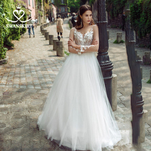 웨딩 드레스 아가 하트 아플리케 a 라인 긴 소매 꽃 Vestido de novia 2020 Illusion Princess Swanskirt GY25 Bridal Gown