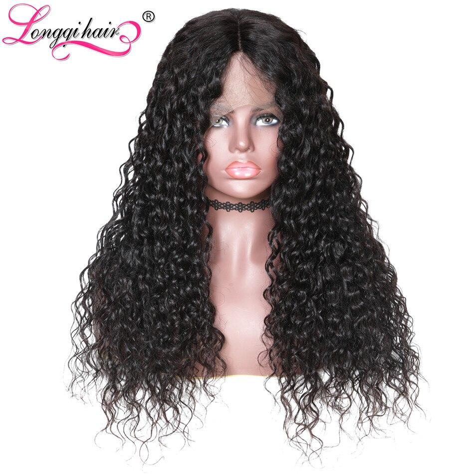 Longqi 髪ブラジル水波かつら人毛レミー自然な髪かつら事前摘み取らフル人間黒人女性  グループ上の ヘアエクステンション & ウィッグ からの フル レース ウィッグ の中 2