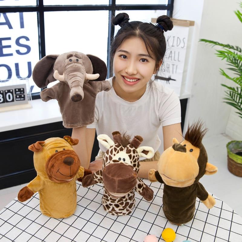 Original 25cm handpuppe weiche plüsch spielzeug nette elefant löwe affe tier gefüllte puppen pretend geschichte puppen geschenk für kinder