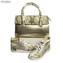 נפלא זהב & נחש עור נעליים עם התאמה תיק סטים למעלה כיתה Sneaker נעלי ותיק הלוהטים! WENZHAN סיטונאי A911 5