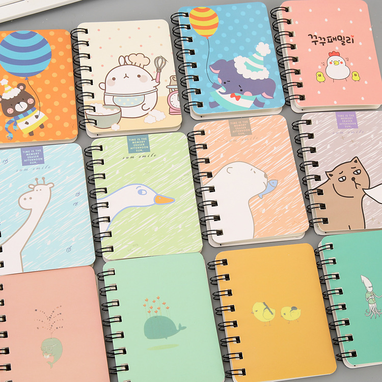 Korean cartoon coil portable notebook creative Korea student stationery pocket mini