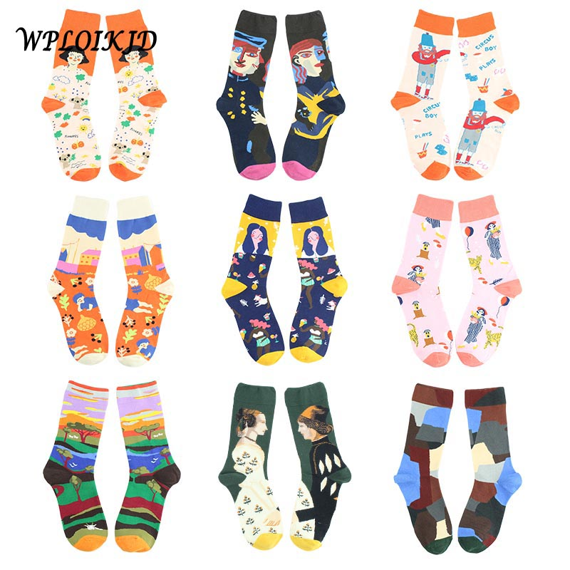 [WPLOIKJD]Quality Casual Colorful Novelty Autumn Winter Style Women Socks Fashion Funny Cute Socks Creative Calcetines Skarpetki