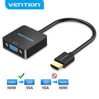 Convenio adaptador de HDMI a VGA convertidor de macho a hembra 1080P HDMI-VGA adaptador con 3,5 Jack Cable de Audio para TV Box PC HDMI a VGA