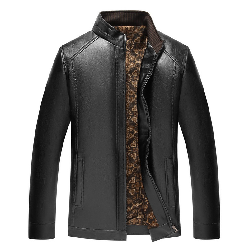Leather Coat Stand Collar Gold Velvet Casual Fashion Men'S Wear Autumn & Winter PU Leather Jacket Leather Coat
