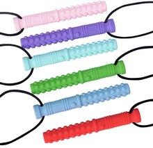 6PCS 실리콘 질감 씹는 목걸이 아기 Teether 자폐증 감각 씹는 펜 던 트 특별 한 필요에 대 한 구강 모터 도구 ADHD