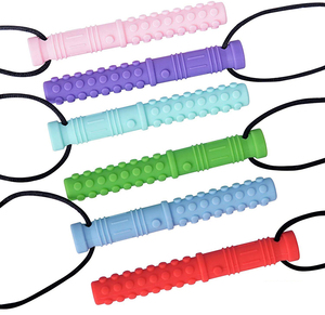 Image 1 - Collar con textura de silicona para morder mordedor de bebé, colgante sensorial para masticar, con autismo, herramientas para Motor Oral para necesidades especiales, TDAH, 6 uds.