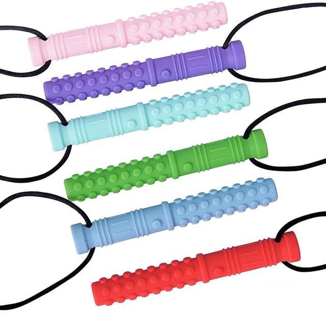Collar con textura de silicona para morder mordedor de bebé, colgante sensorial para masticar, con autismo, herramientas para Motor Oral para necesidades especiales, TDAH, 6 uds.