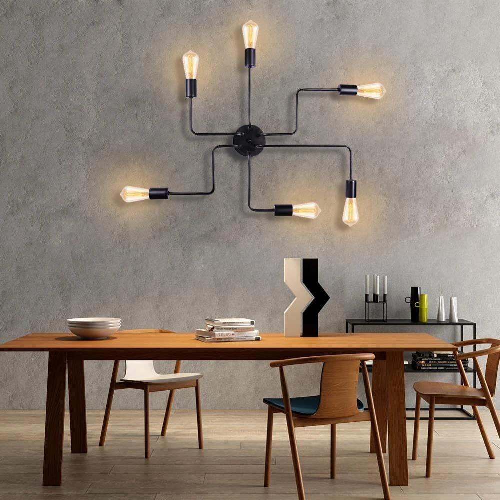 industrial ceiling lamp semi flush mount edison light fixtures modern black metal chandelier indoor lighting 6 lights rustic bar