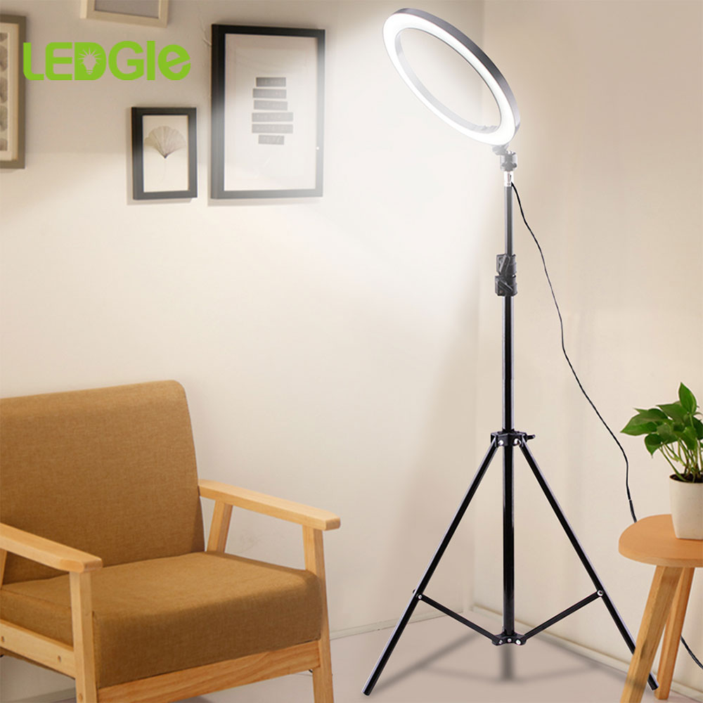 LEDGLE USB LED Floor Lamp Phone Dimmable Lampara 16CM 26CM Ring Light High Tripod Luminaria Standing Floor Lamps For Living Room