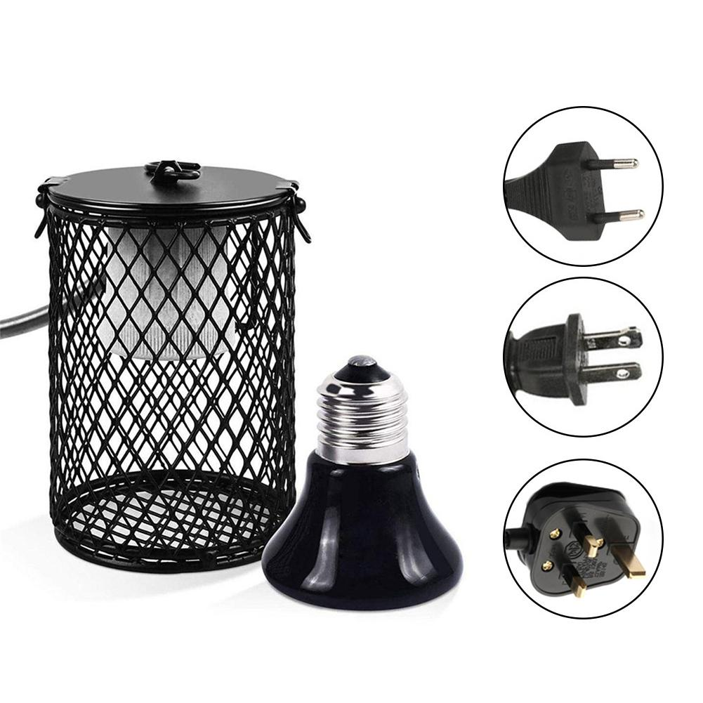 Pet Heated Lamp Scald Proof Ceramic Heating Lamp Set With Safety Cage Emitter Heat Lamp Pet Supplies Chickens Reptile Lamp