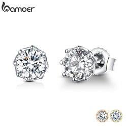 Bamoer autêntico 925 prata esterlina clássico claro zircão cúbico pequeno parafuso prisioneiro brincos para mulher prata esterlina jóias sce499