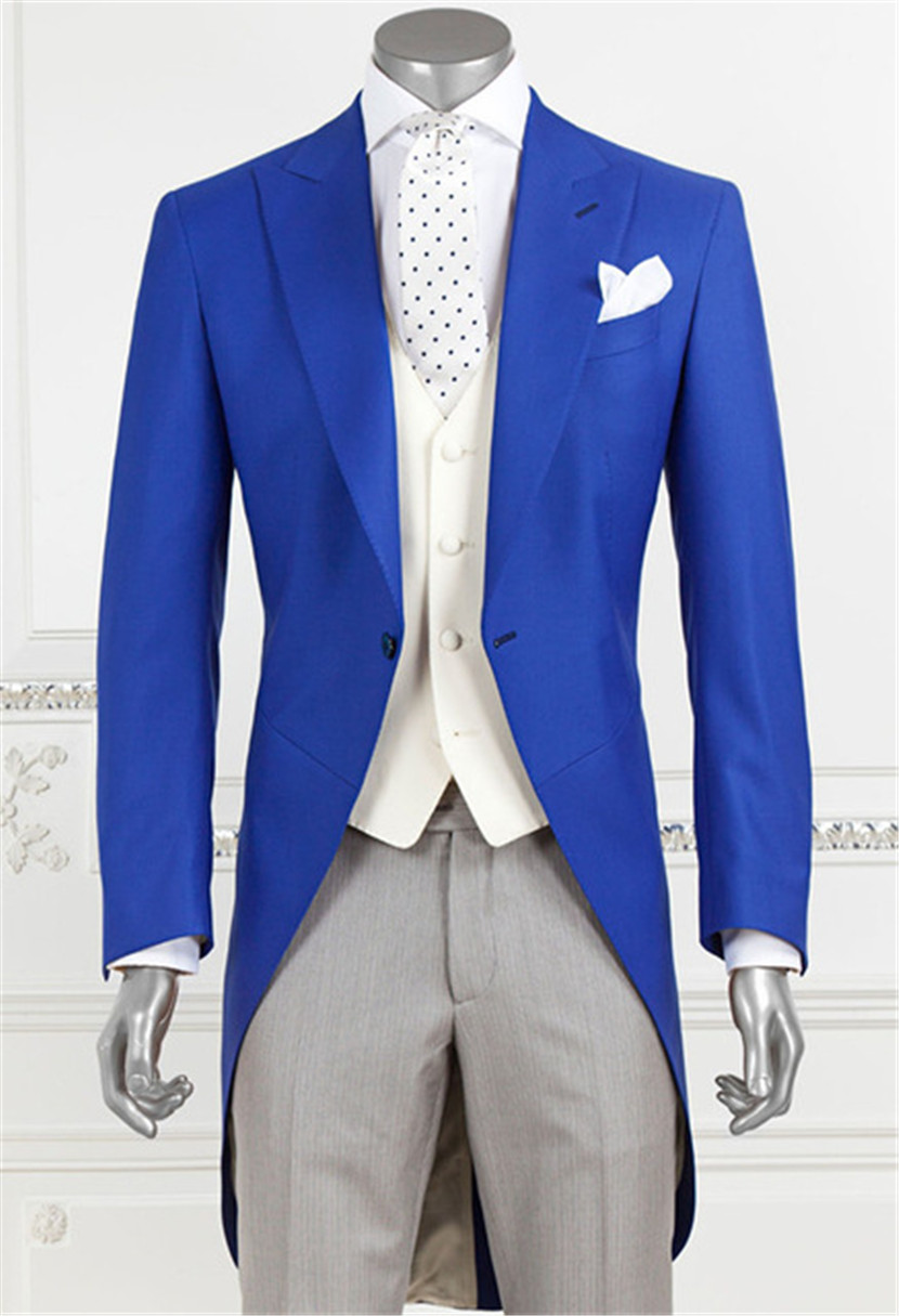 Custom Made Blue Peaked Lapel Men Suits Casual Straight Blazer Tuxedo Tailcoat Wedding Suit Terno Masculino (Jacket+Pants+Vest)