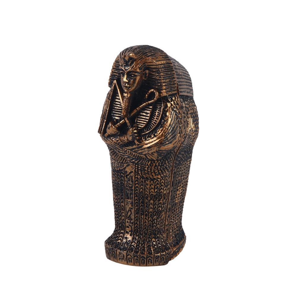 Resin Egypt Mummy Figurine Statue Miniature Egyptian King Coffin Sandplay