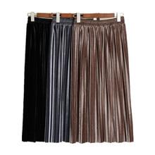 Office Lady Long-Skirt Bottoms Velvet Pleated High-Waist Korean Plus-Size Women Fall