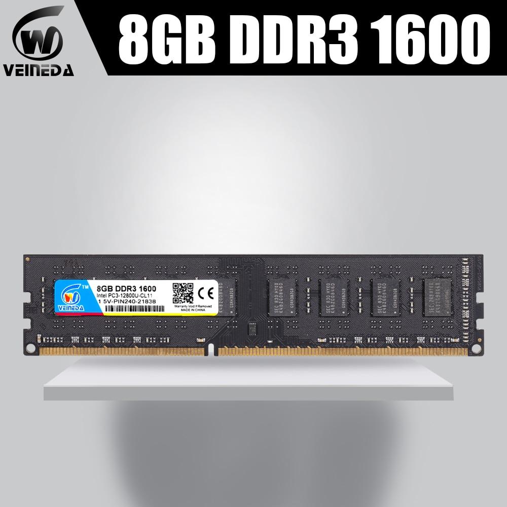 VEINEDA Ddr3 4gb 8gb  Ram DDR3 Memory Ddr3 8 гб  Ddr 3 1333 For Desktop Compatible 1066  PC DIMM Memory PC3-10600R 12800R