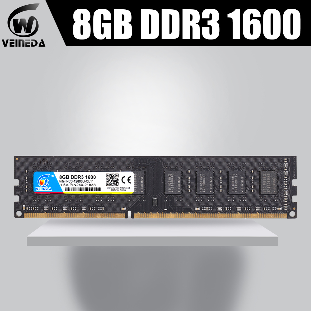 VEINEDA ddr3 <font><b>4gb</b></font> 8gb ram DDR3 memory ddr3 8 гб <font><b>ddr</b></font> <font><b>3</b></font> 1333 For Desktop compatible 1066 PC DIMM Memory PC3-10600R 12800R image