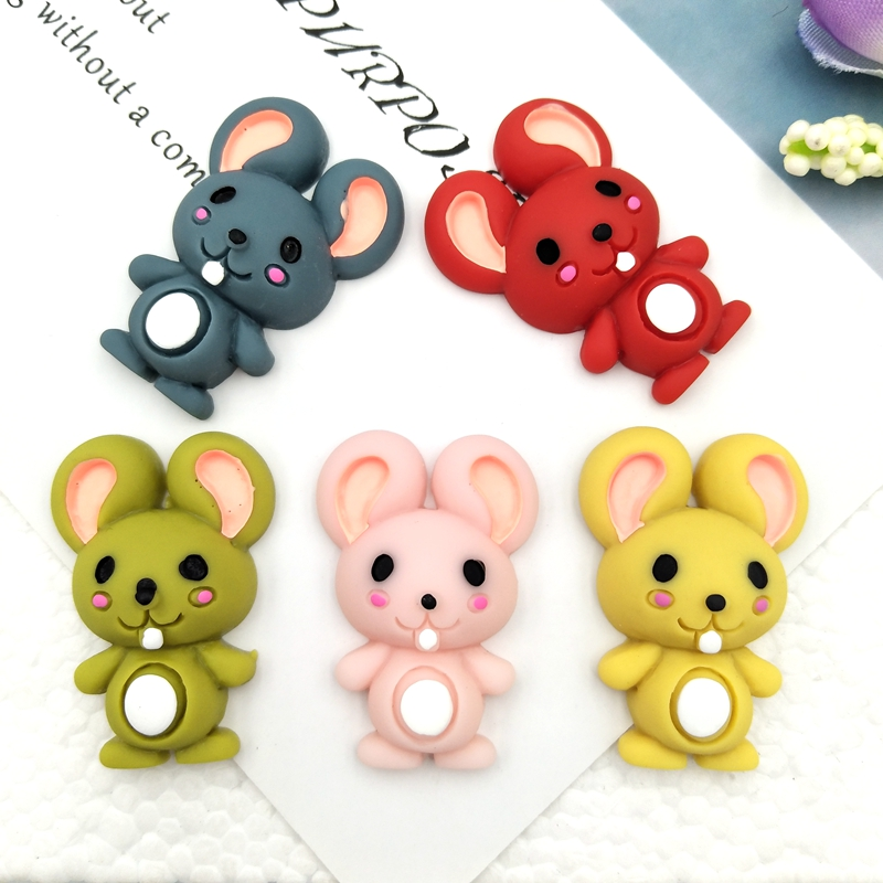 10pcs Mixed Hand Painted Mouse Resin Flat Back Cabochons Embellishments Accessories DIY Hair Bows Center