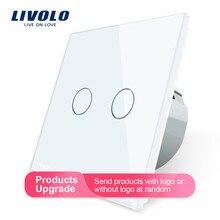 Livolo 2 банда 1 способ настенный светильник сенсорный выключатель, настенный домашний выключатель, панель с кристаллами, стандарт ЕС, 220-250 В, C702-1/2/3/5