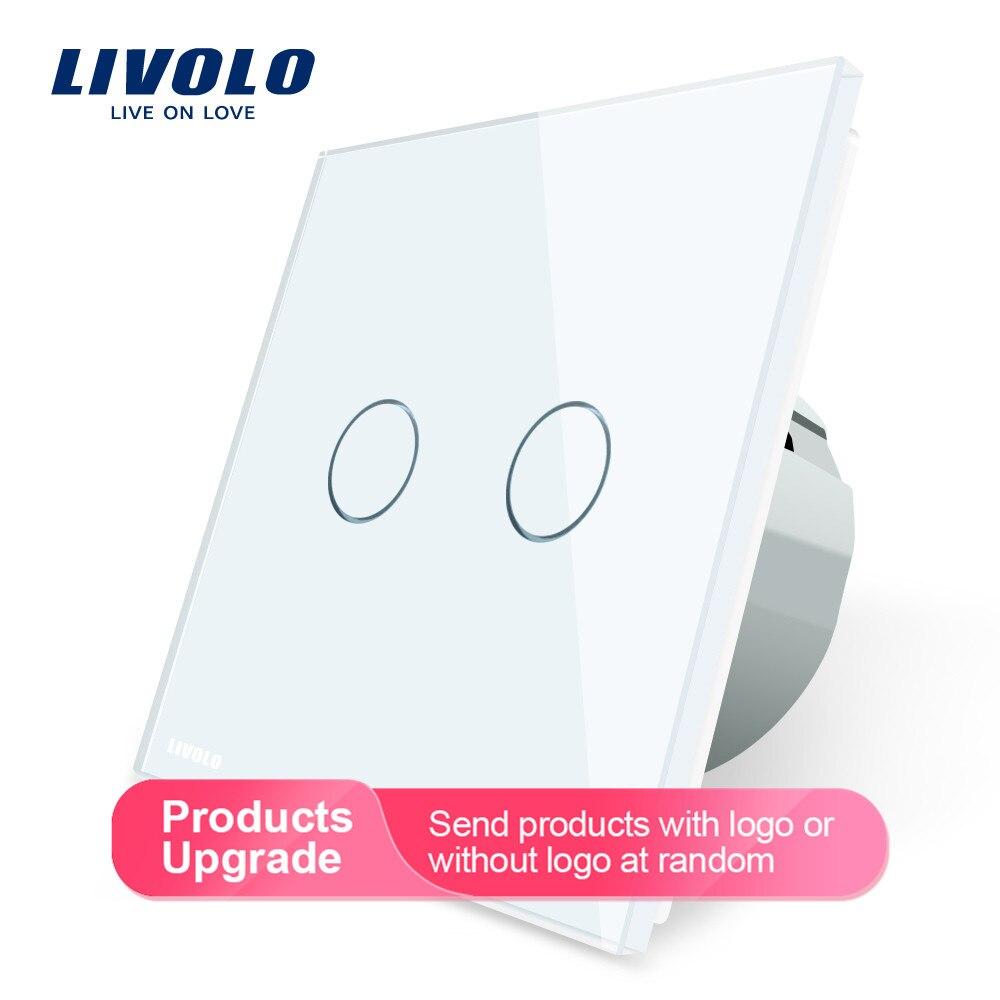 Livolo 2 gang 1 way interruptor de toque de luz de parede, interruptor de casa de parede, painel de interruptor de vidro de cristal, padrão da ue, 220-250 v, C702-1/2/3/5
