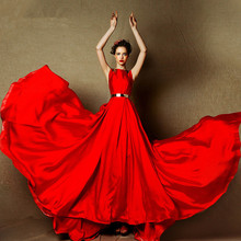 Vestidos sexy see through back Design Evening Dress 2016 red satin long Formal Evening gown with gold sashes beading weddings