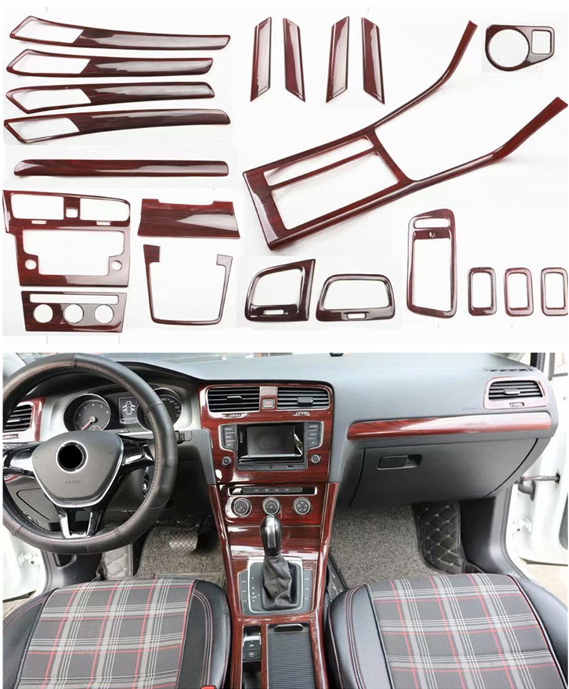 1lot Car Stickers Mahogany Inside Decoration Cover For 2014-2019 Volkswagen VW Golf 7 MK7