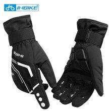 INBIKE, зимние велосипедные перчатки с сенсорным экраном, MTB, велосипедные перчатки, спортивные, противоударные, полностью отражающие пальцы, зимние велосипедные перчатки для мужчин