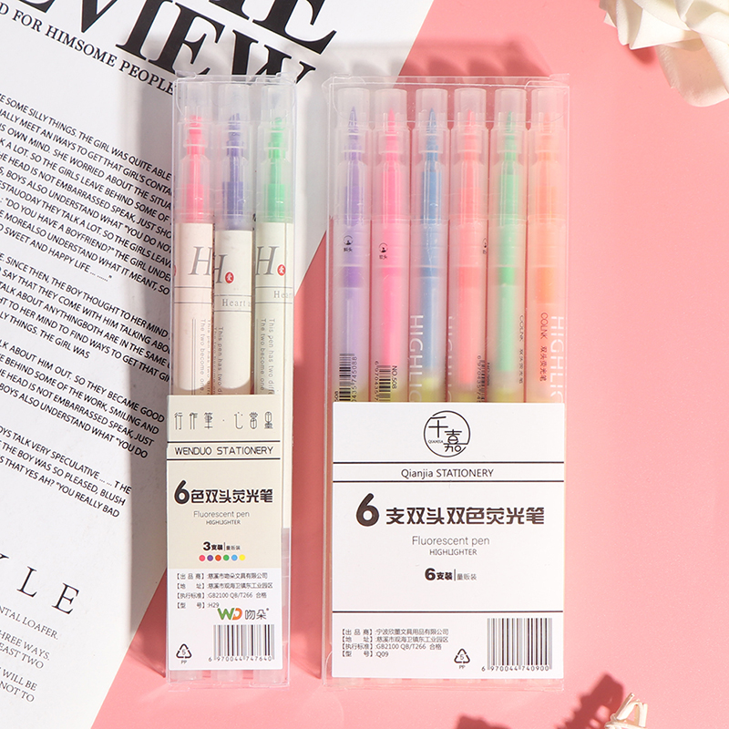 3/6Pcs Highlighter Pen Stationery Double Headed Fluorescent Marker Pen Mark Pen