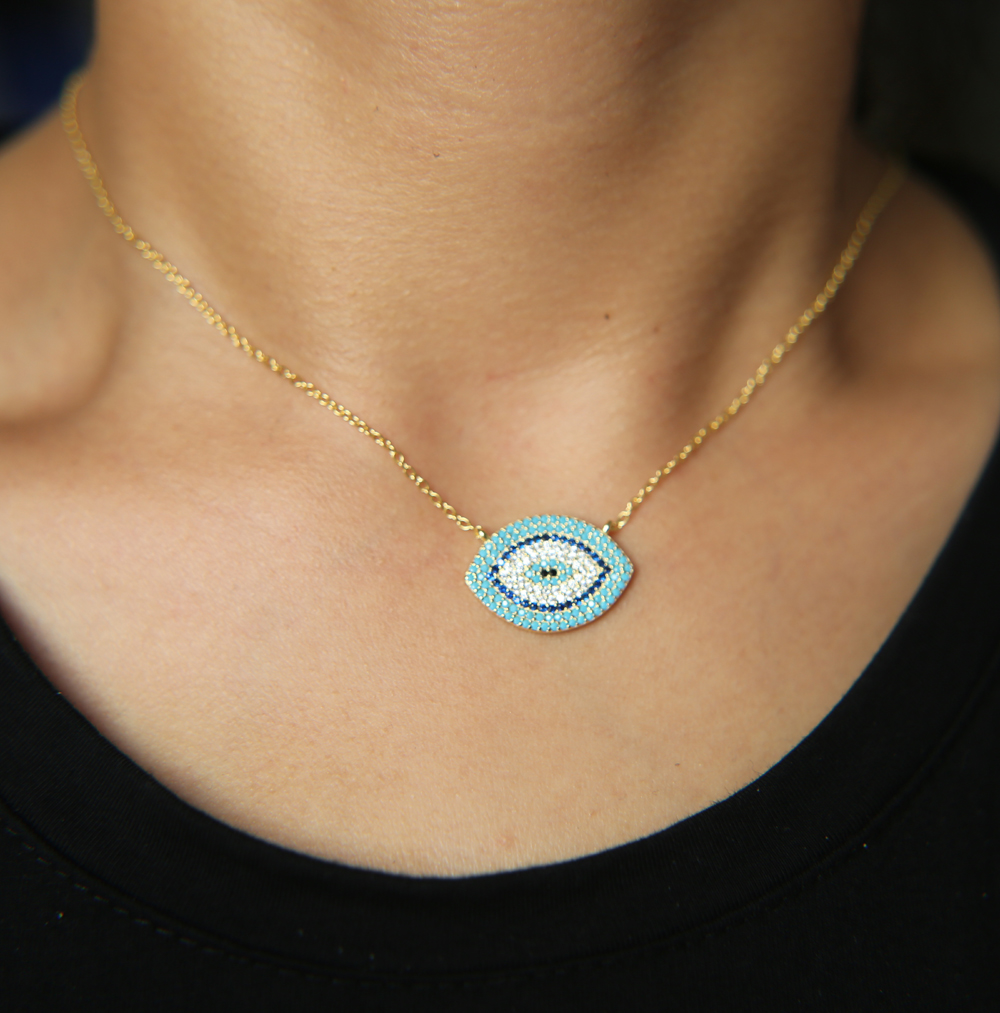 """Turkish Style fine 925 silver Evil Eye Necklace for Women Long 18"""" Chain Crystal turquoises stone Eyes Necklaces & Pendants"""