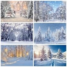 Christmas Tree Winter Snow Snowflake Mountain Forest Backdrop Vinyl Photography Background For Photo Studio Photophone Photozone