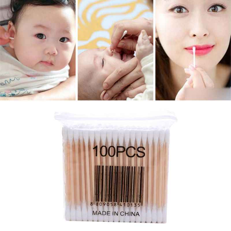 1 Pack Wooden Cotton Swabs Double-Tipped Multipurpose Safety Nose Ear Cleaning Buds Stick Dust-Free Sterile Makeup Cosmetic Tool