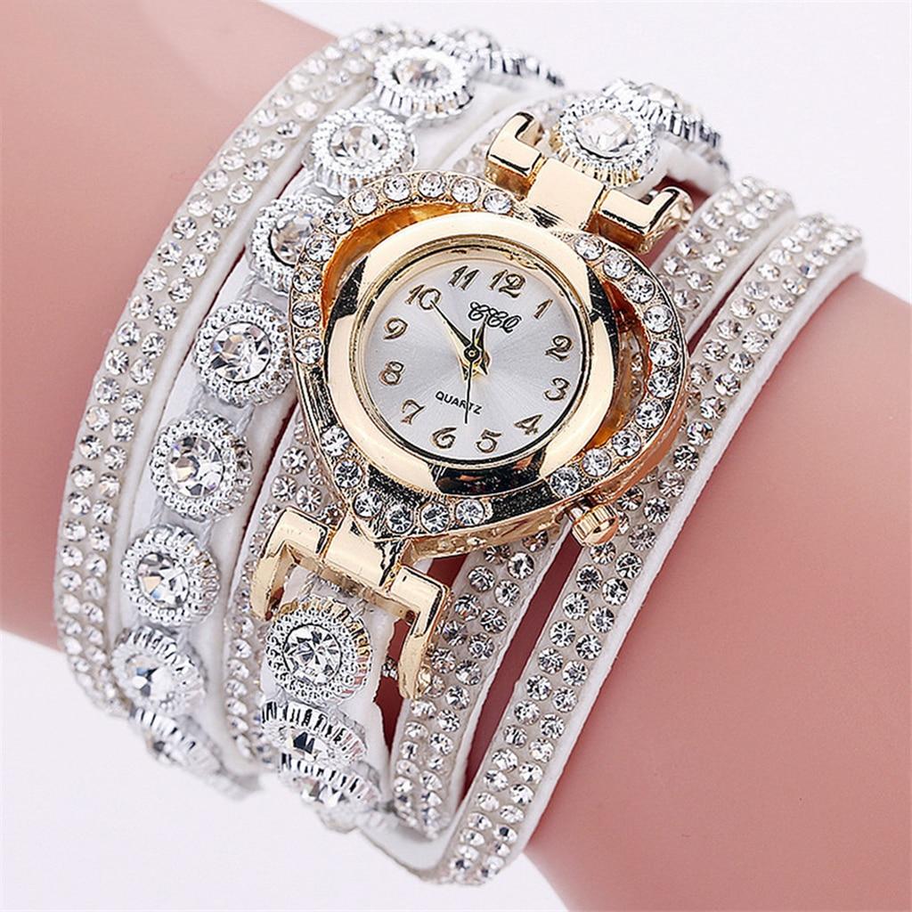 Women Luxury Rhinestone Bracelet Wristwatch Ladies Multilayer Analog Watch
