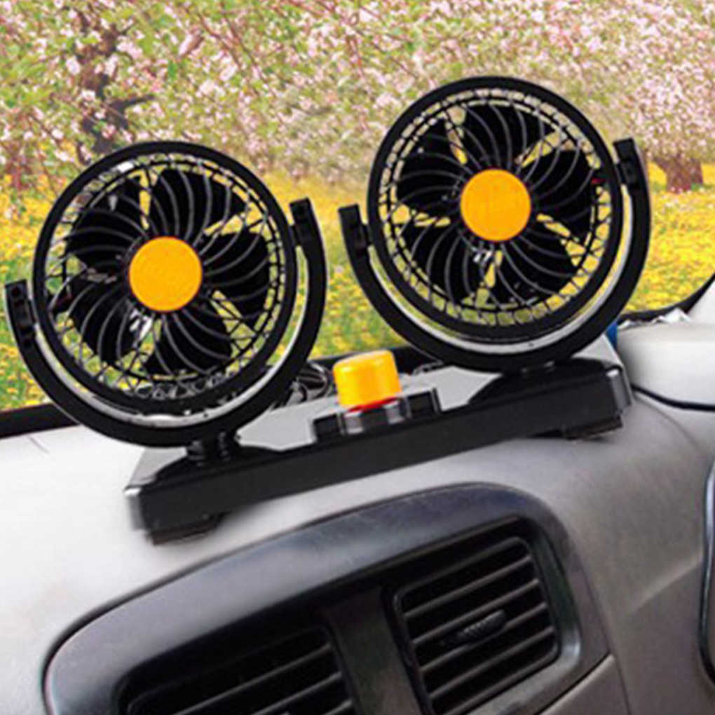 المزدوج رئيس مروحة شاحنة 24V 360 درجة دوران ولاعة السجائر بالطاقة منخفضة الضوضاء مروحة كهربائية