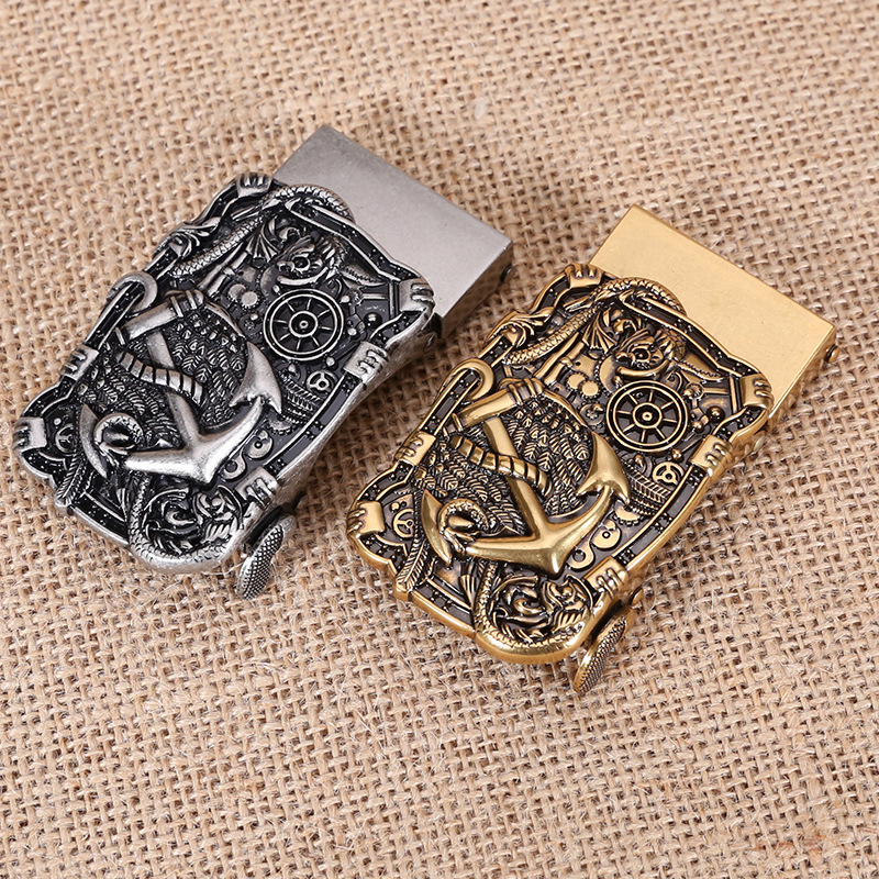 1PCS Anchor Belt Buckle Men Gold Silver Automatic Buckle For 3.50cm Belt Metal Alloy Buckles