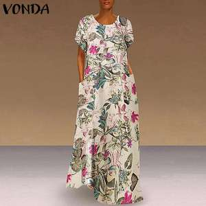 VONDA Sundress Maxi Long Party Vestido Loose Casual Floral Printed Dress 2020 Summer Dress Women Vintage Bohemian Plus Size 5XL