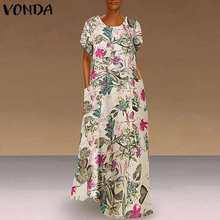 VONDA Sommerkleid Maxi Lange Party Vestido Lose Beiläufige Floral Bedruckte Kleid 2021 Sommer Kleid Frauen Vintage Böhmischen Plus Größe 5XL