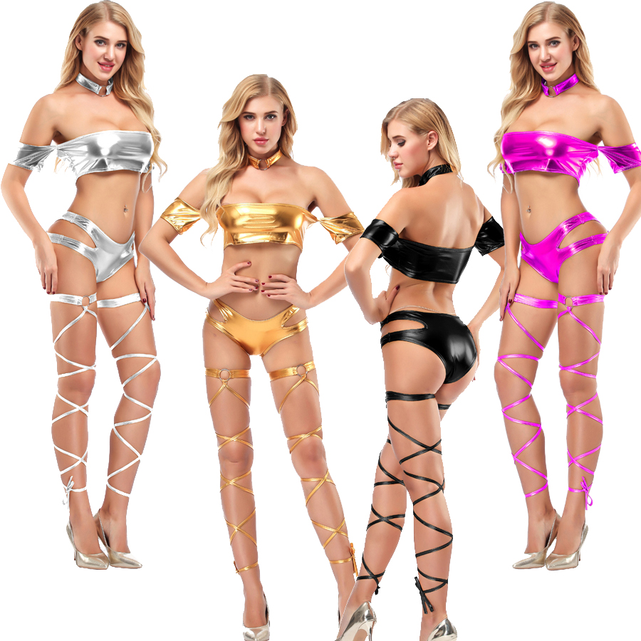 4pcs/set Wetlook PU Leather Pole Dance Night Clubwear Hot Sexy Stage Showing Costume Cheerleading Uniform Crop Tops Booty Shorts