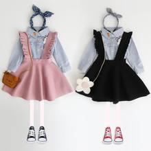 เด็กผู้หญิงเสื้อกันหนาวเด็กOverallsถักชุดสายคล้องชุดเด็กวัยหัดเดินเท่านั้นรวมชุด 3 8Y E097