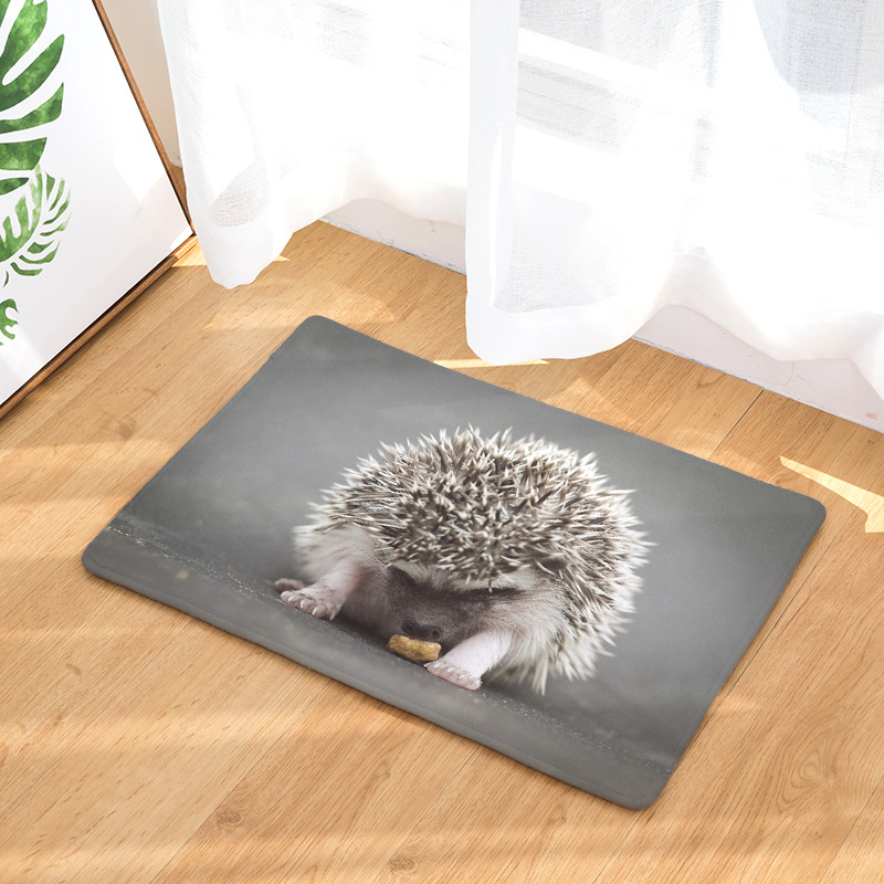 CAMMITEVER Cute Animals Hedgehog Rug Print Carpets Anti-slip Floor Mat Outdoor Rugs Animal Front Door Mats 40x60 50x80cm