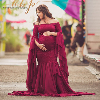 Pregnant Robe Dress Maternity Photography Props Elegant Maxi Gown Pregnancy Dress Shoulderless Maternity Dresses for Photo Shoot s m l xl maternity dress for photo shoot maxi maternity gown split front maternity chiffon gown sexy maternity photography props