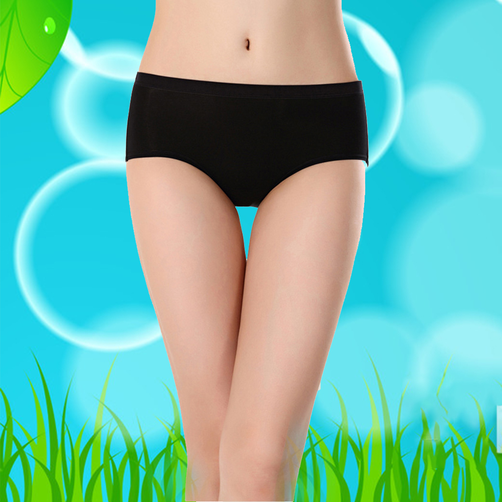 Women Knickers Modal Fabric Breathable Solid Elastic Middle Waist Thin Comfortable Triangle Soft Plain Slim Underwear