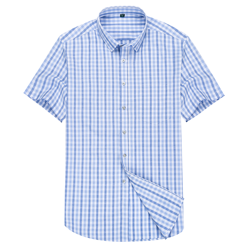 blue Plaid Shirt Men Shirts 2019 New Summer Fashion Chemise Homme Mens Checkered Shirts Short Sleeve Shirt Men Blouse|Casual Shirts| |  - title=