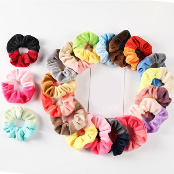 Korea Plush Girls Hair Scrunchies Sweet Elastic Hair Rope Hair Accessories Two-colors Splicing Ponytail Holder Hair Rubber Bands image