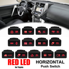 12V Car LED Push Switch 5 Pin On Off Button Red LED Light w/Connector Wire For Toyota Prado HiAce/Hilux Landcruiser