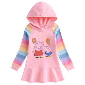 Świnka Peppa wiosna jesień dziewczyny bluzy dzieci sukienka świąteczna długi płaszcz z rękawami kostium dla dzieci Party bluzy odzież