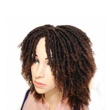 Hywamply krótkie włosy syntetyczne dredy peruki dla afrykańskich kobiet bogini dusza Locs szydełkowe warkocze peruka czarny brązowy Ombre codzienna peruka tanie tanio Niska Temperatura Włókna Dreadlock Perukę Włosów 1 sztuka tylko Średnia wielkość
