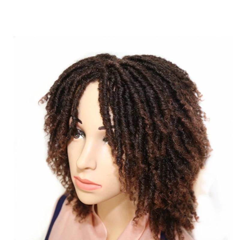 Hywappy Perruque A Meches Synthetiques Courtes Postiche Avec Ame De Deesse Africaine Tresses Au Crochet Noir Brun Ombre Quotidien Aliexpress