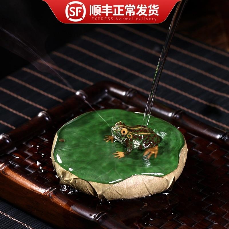 world Yixing purple sand tea pet water spray frog tea table ornament delicate tea play incense plug can keep frog fun