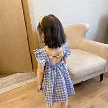 Children's Dress 2020 Striped Pastoral Pure Cotton Breathable Girls' Princess Dress Blue Sweet Little Girls'princess Dress girls striped frill trim dress